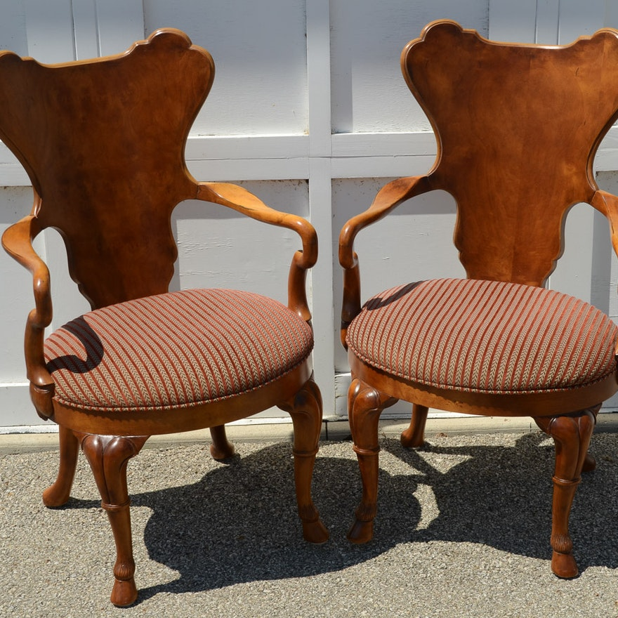 pair of century furniture gentry game chairs ebth