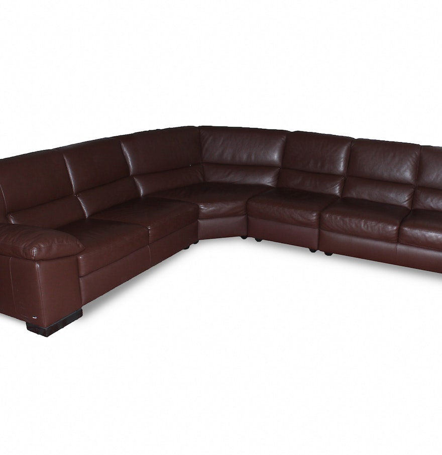 Italsofa Leather Sofa: Italsofa Brown Leather Sectional : EBTH
