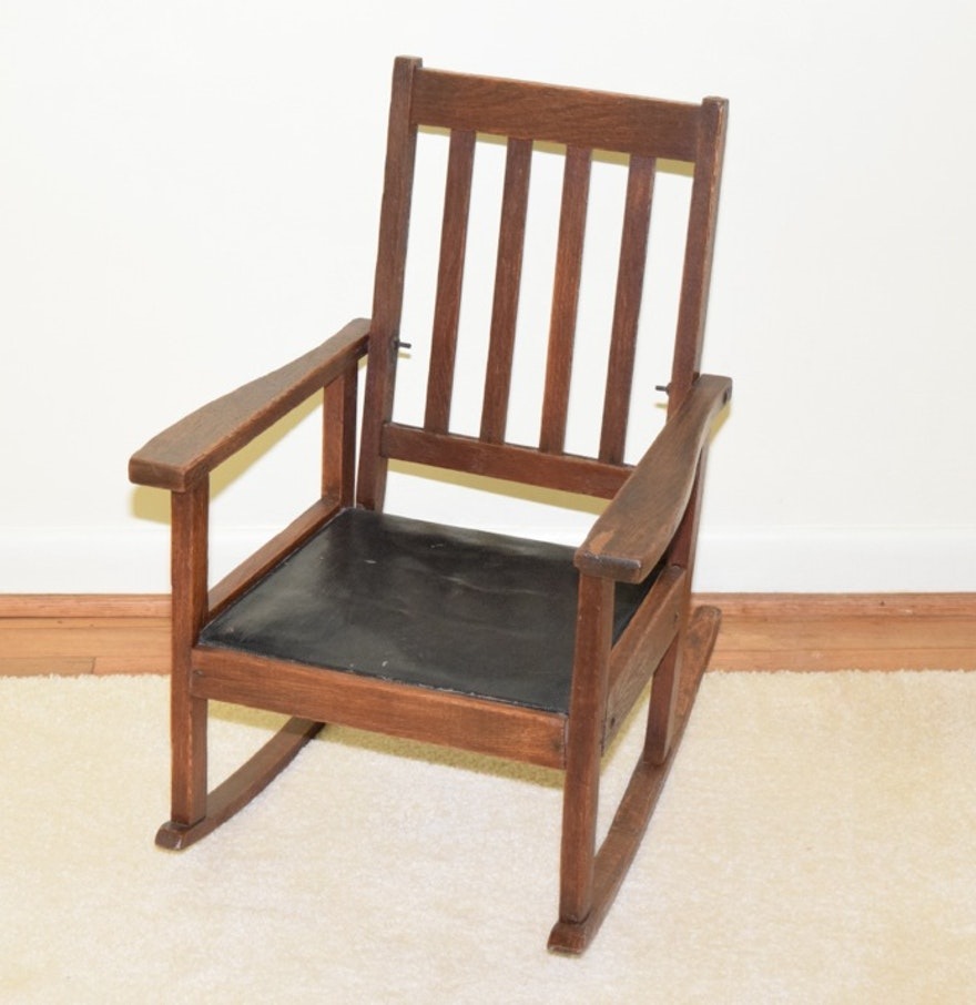 Children 39 s antique oak and leather rocking chair ebth for Kids chair leather
