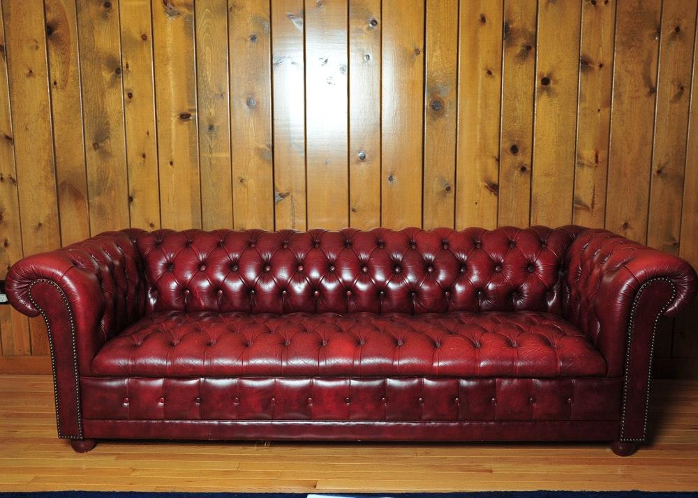 Tufted Burgundy Chesterfield Sofa ...