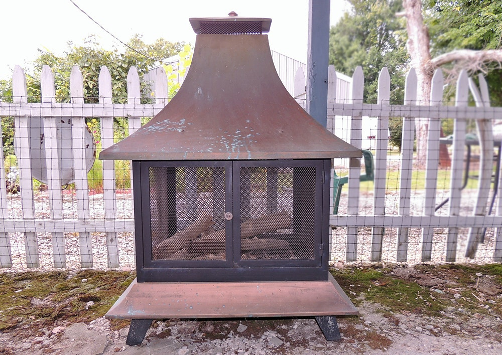 chiminea copper outdoor wood burning fireplace ebth