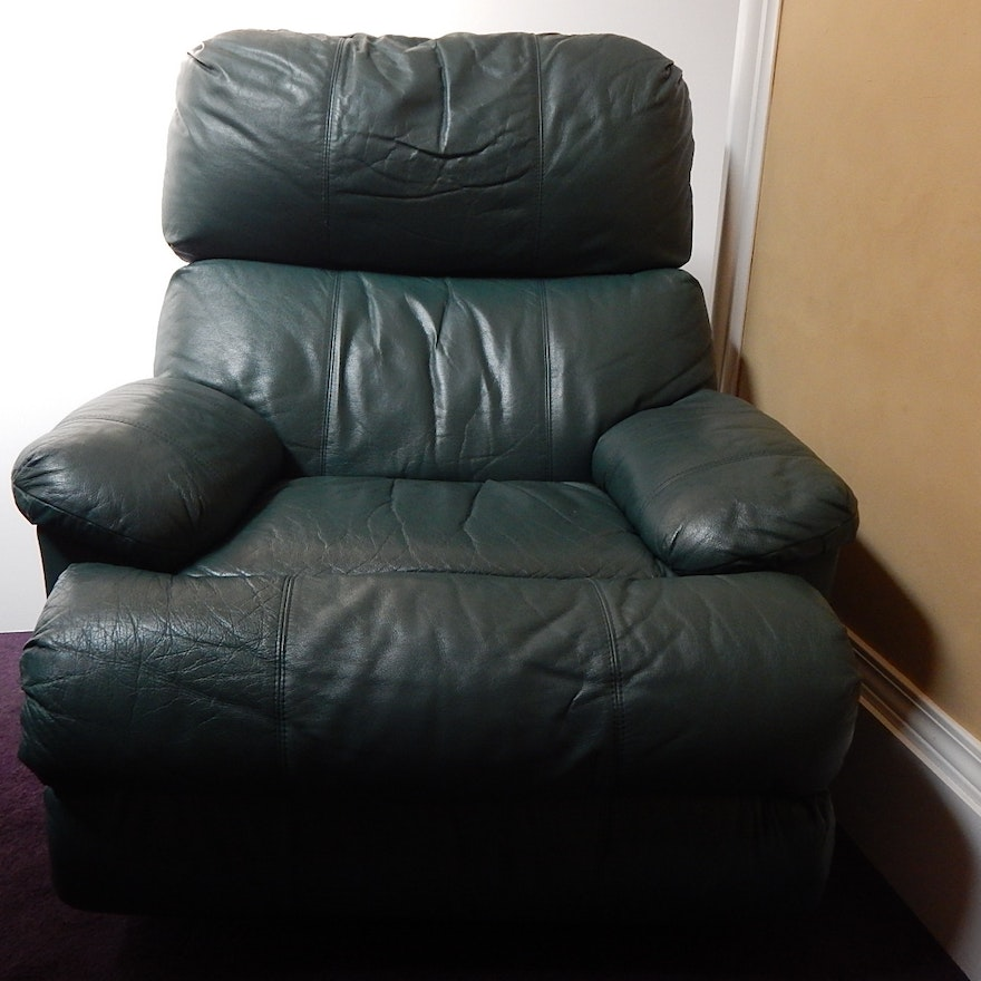 Teal Green Vinyl Leather Recliner Chair