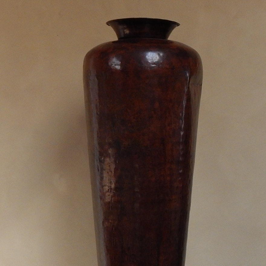Brown Mottled Hammered Metal Decorative Floor Vase