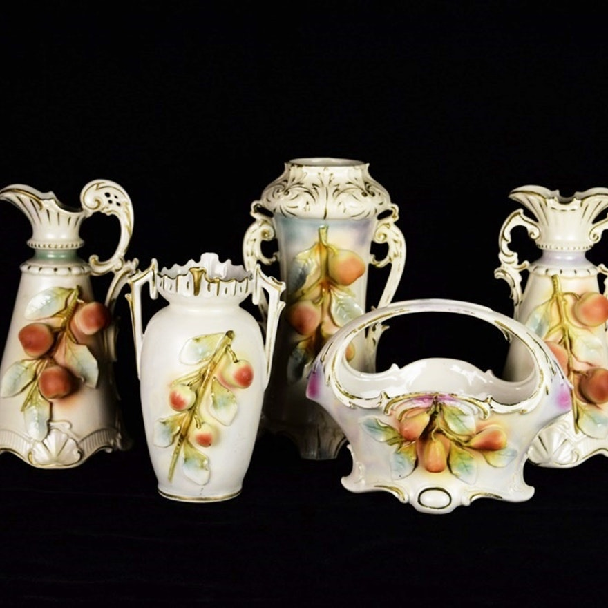 Antique Royal Bruxonia Austrian Vases And Pitcher With Fruit Ebth