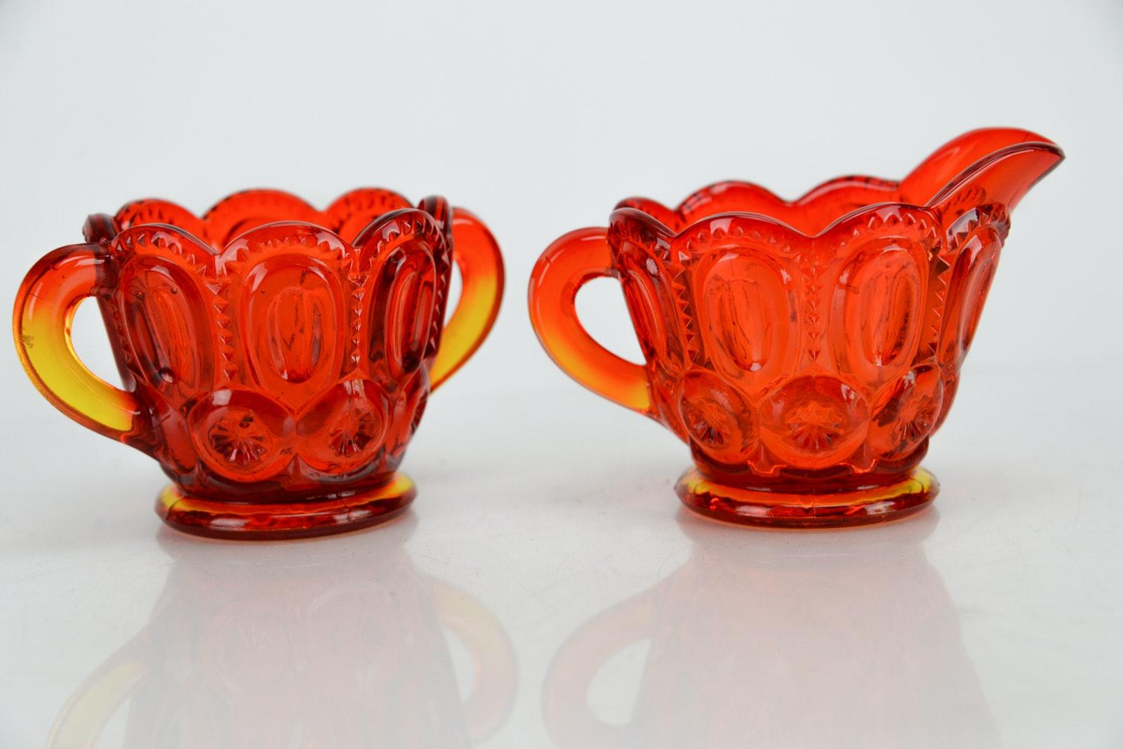 Amber Pressed Glass Pieces Ebth