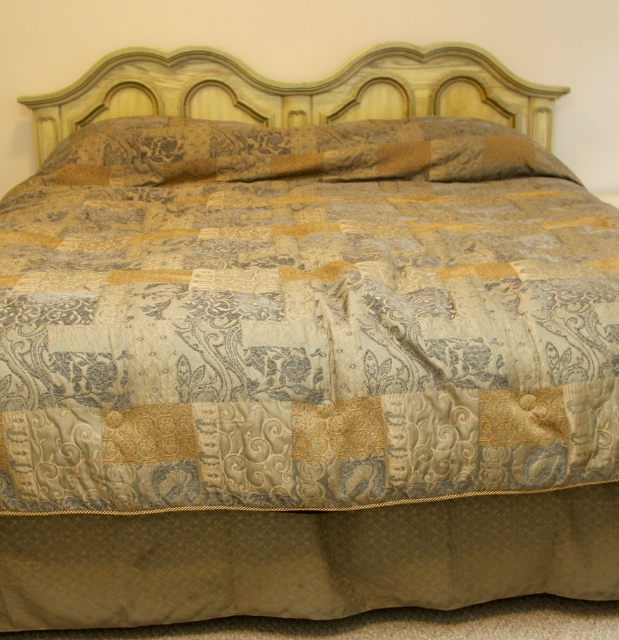 Vintage King Size Yellow And Green Headboard And Frame By