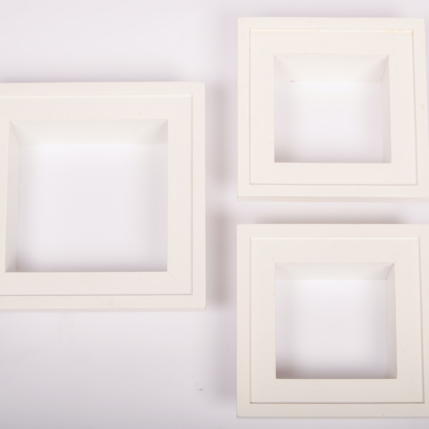Two Sets of Three White Shadowbox Frames : EBTH
