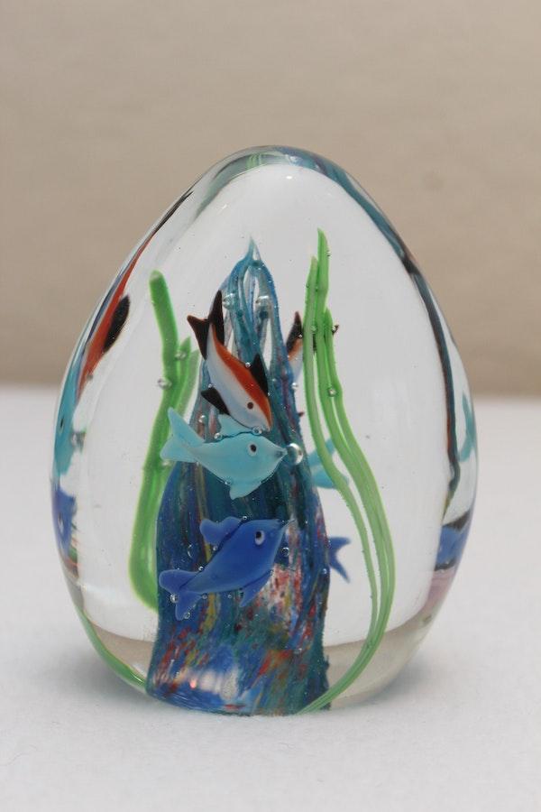 Three Blown Glass Fish Paperweights Ebth