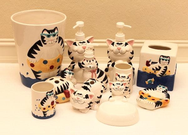 Cat Motif Ceramic Bathroom Decor EBTH