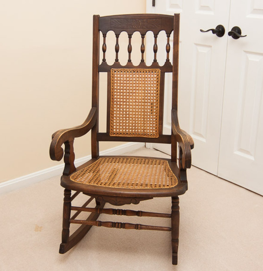 Vintage cane rocking chair - Vintage Wooden Rocking Chair With Cane Back And Seat