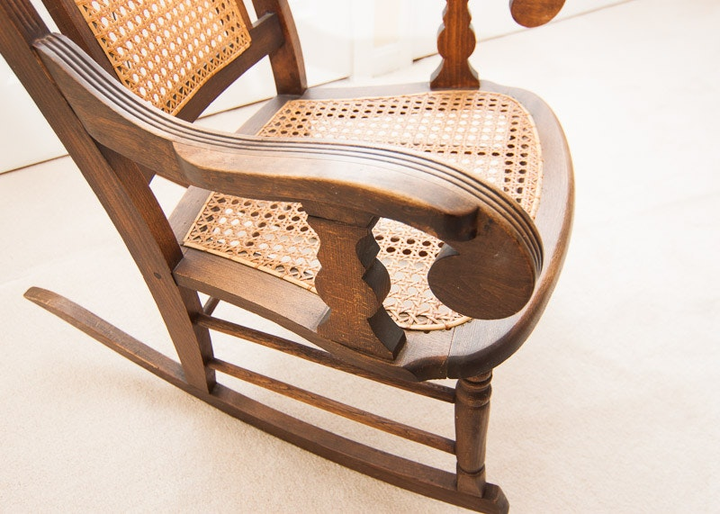 Vintage Wooden Rocking Chair With Cane Back And Seat Ebth