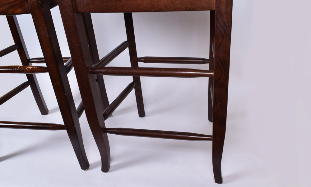 Two Wicker Seat Stool Chairs Ebth