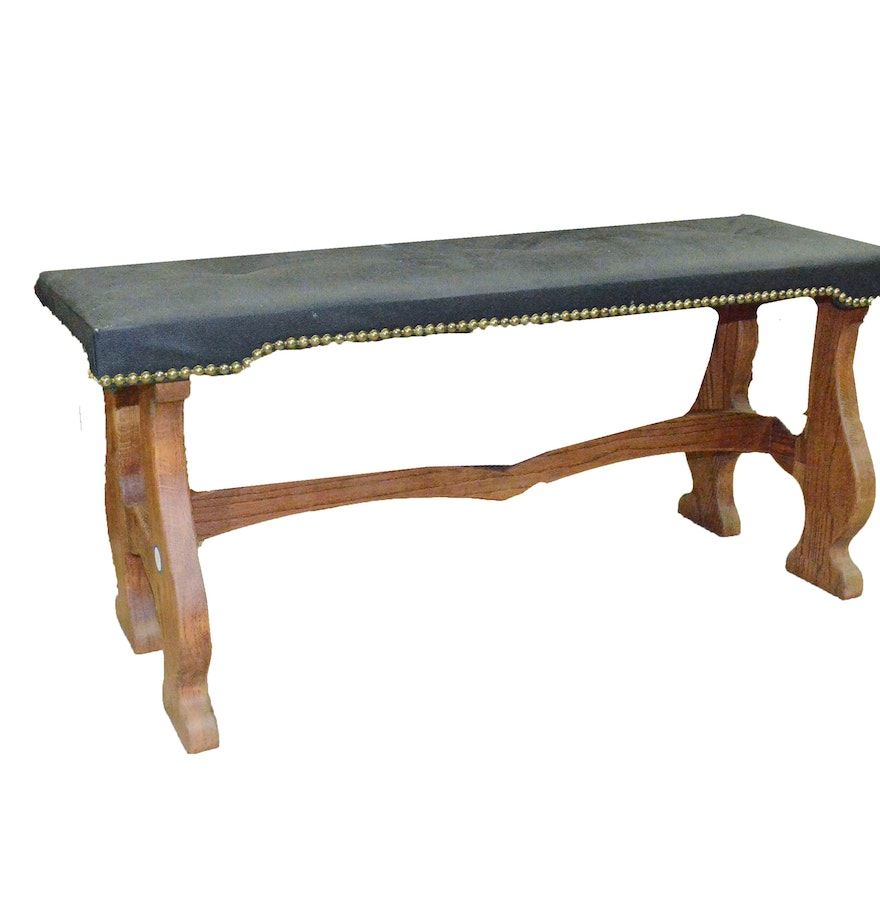 Upholstered seat wood bench ebth Padded bench seat
