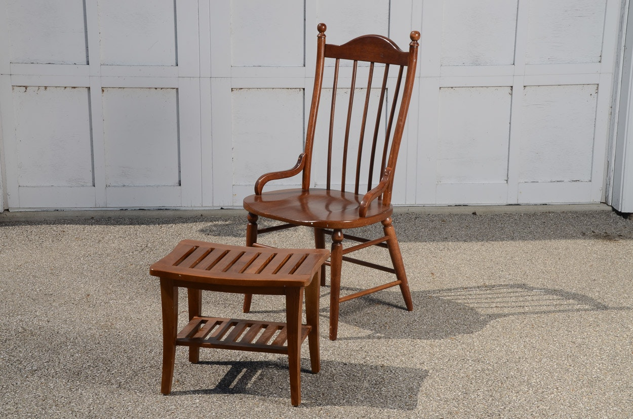 Country Crafted Wooden Chair And Stool Ebth