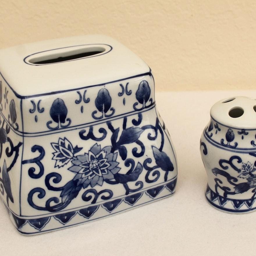 Blue and White Bathroom Porcelain Accessories Set : EBTH