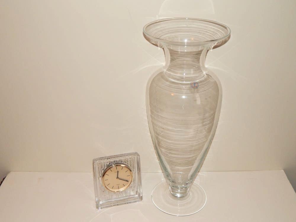 Sasaki Crystal Clock Amp Solbika Glass Vase Ebth