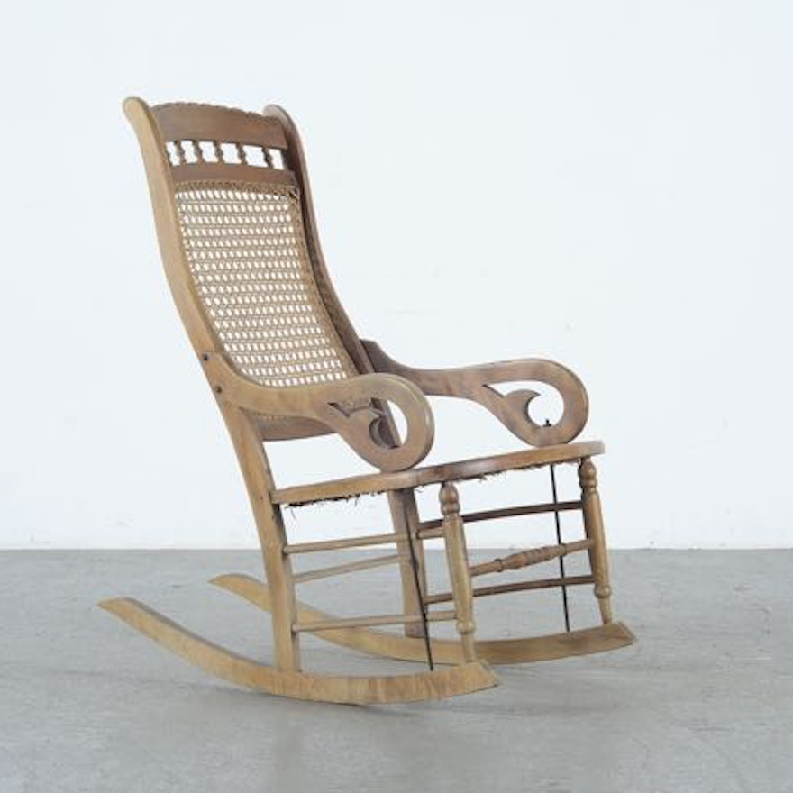 Antique maple lincoln style rocking chair ebth
