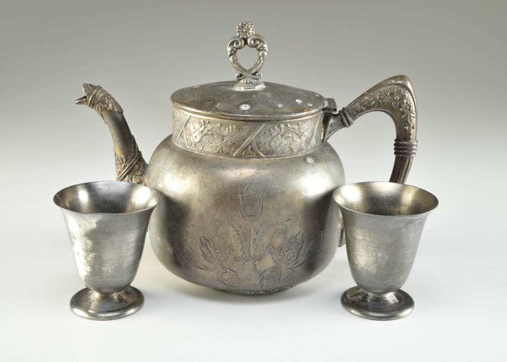 Vintage Silver Plate Teapot and Cups ... & Vintage Silver Plate Teapot and Cups : EBTH