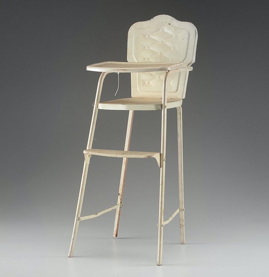 Antique metal high chair - Vintage Metal Doll High Chair