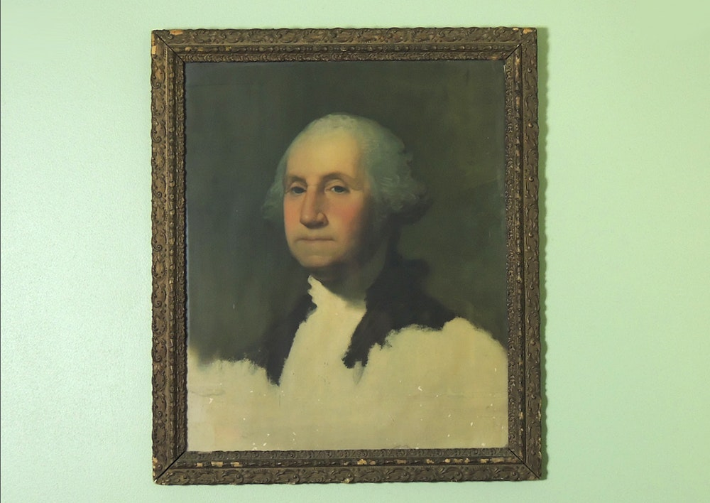 picture relating to Printable Pictures of George Washington named Antique Gilber Stuart Offset Print of George Washington Print