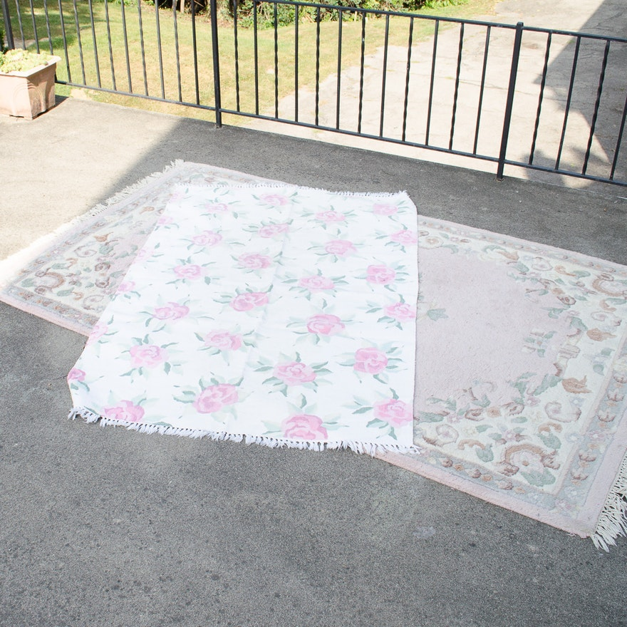 Two Pastel Pink Floral Area Rugs Ebth
