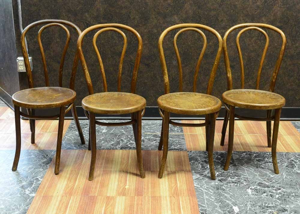 Four Vintage Great Northern Chair Comapany Oak Ice Cream Chairs