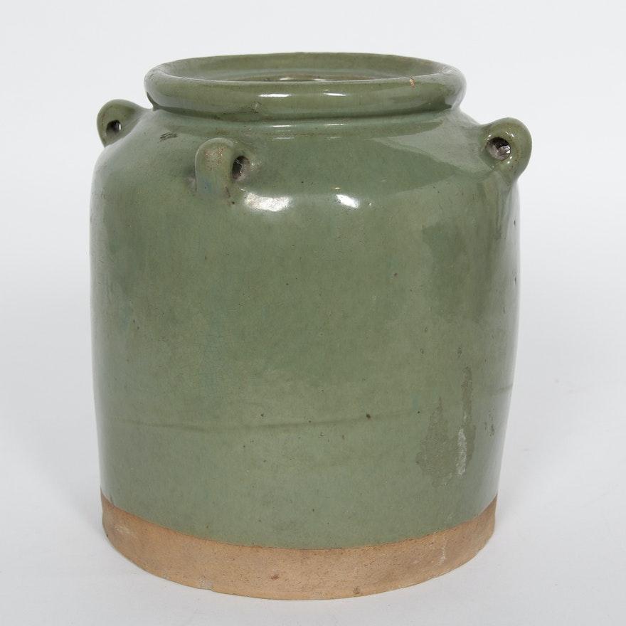 Antique Chinese Celadon Pottery Jar Ebth