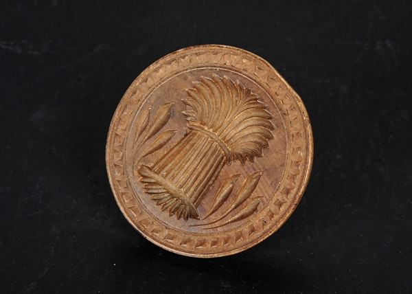 Hand carved wooden butter mold ebth