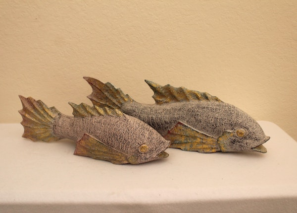 Pair of decorative koi fish statues ebth - Decoratie kooi ...