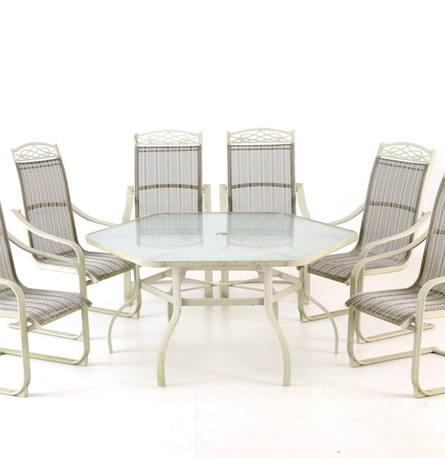 Glass top patio table with umbrella and six chairs ebth for Patio table and chairs with umbrella