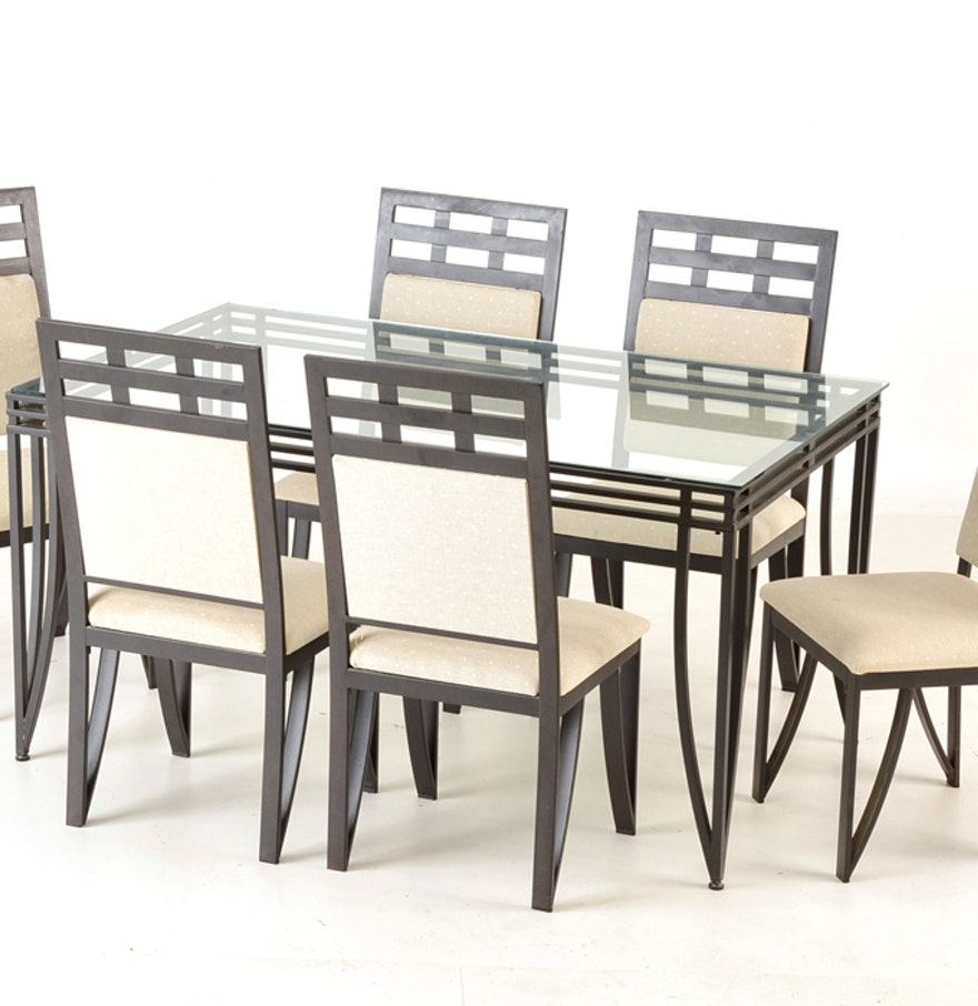 Contemporary metal glass top dining table and chairs ebth for Metal glass dining table
