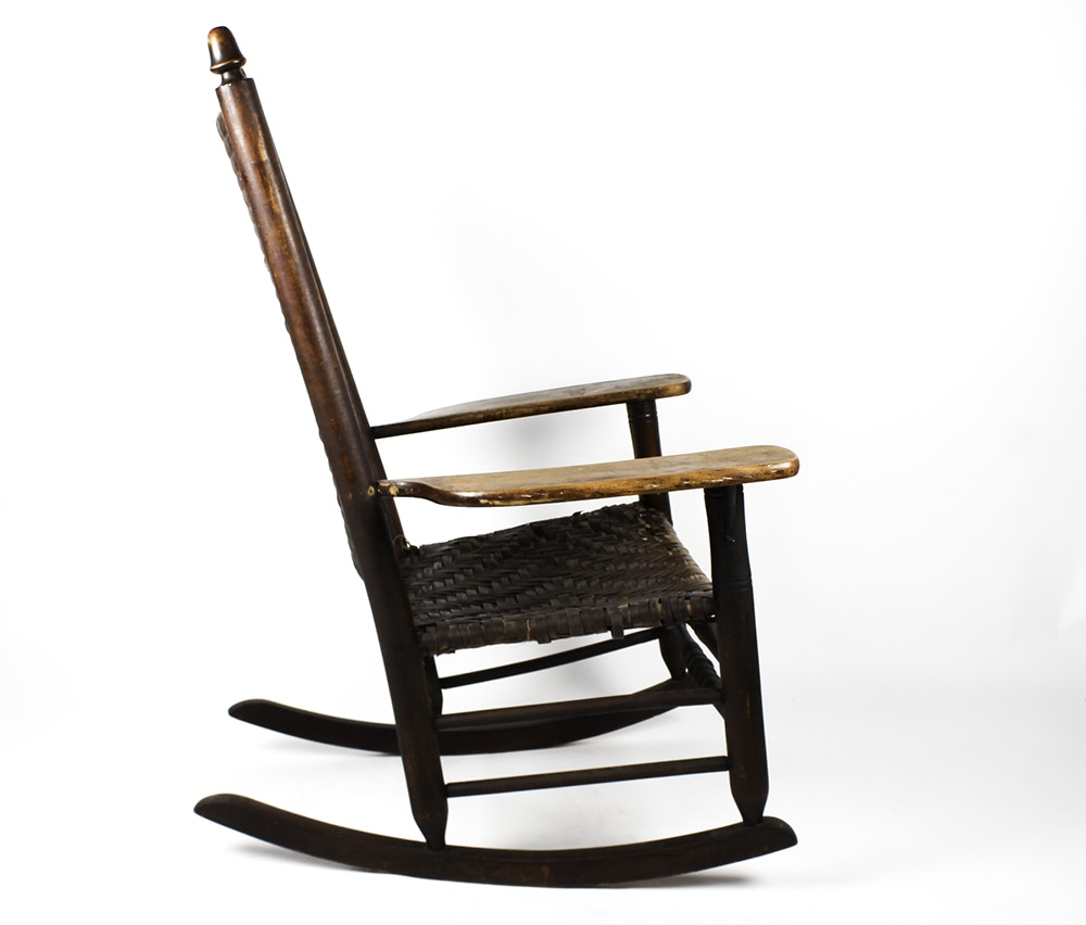 Antique cane rocking chair - Antique Maple Woven Seat Rocking Chair Ebth