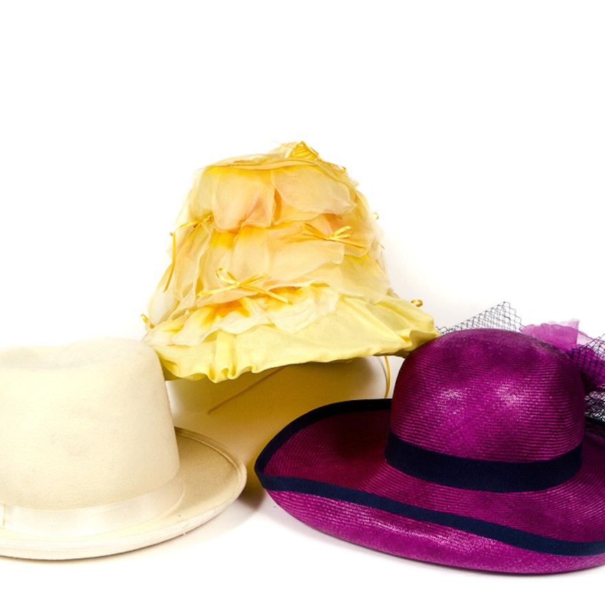 ed2d5e5accbfd4 Trio of Vintage Women's Derby Fashion Hats : EBTH
