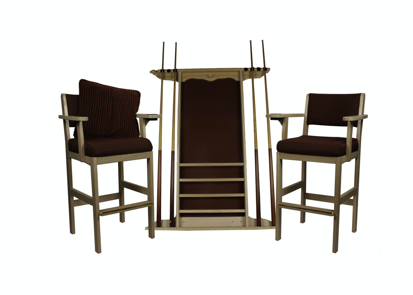 Pair Of Billiards Spectator Chairs And Pool Cue Rack ...