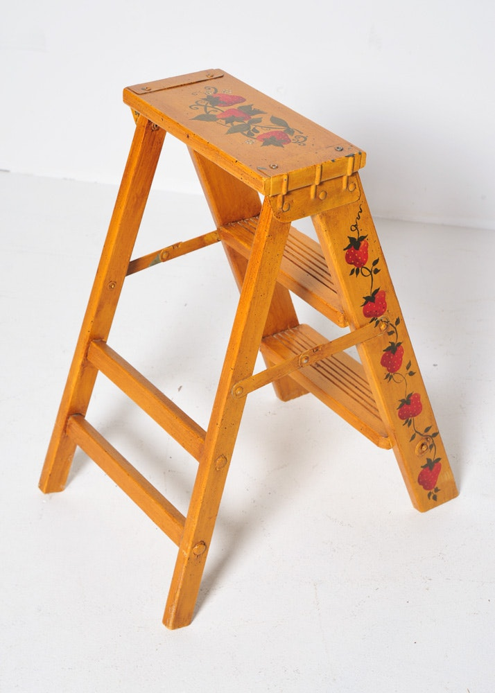 Hand Painted Step Ladder Ebth