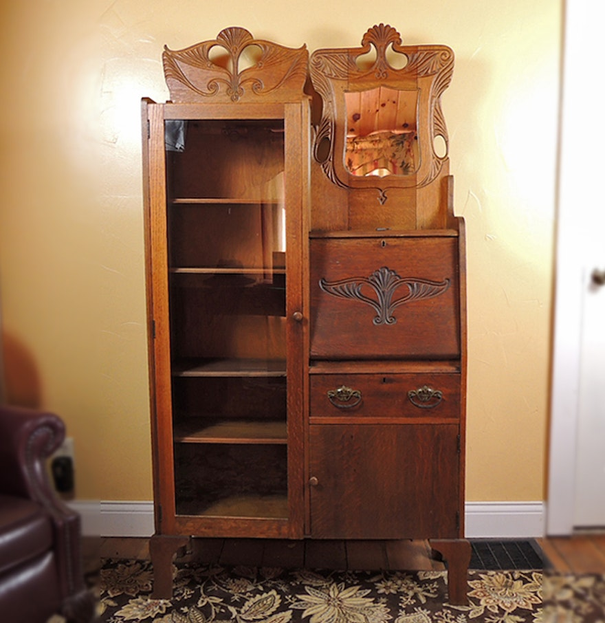 Antique oak side by side secretary with bookcase ebth Desk with shelves on side