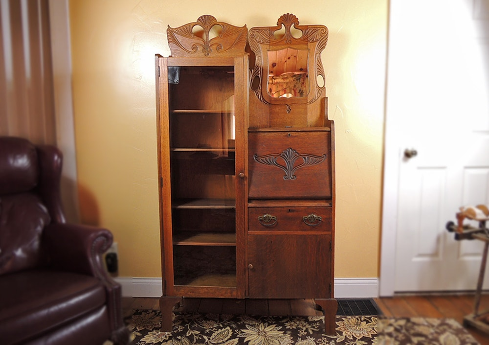 Antique Oak Side by Side Secretary with Bookcase ...