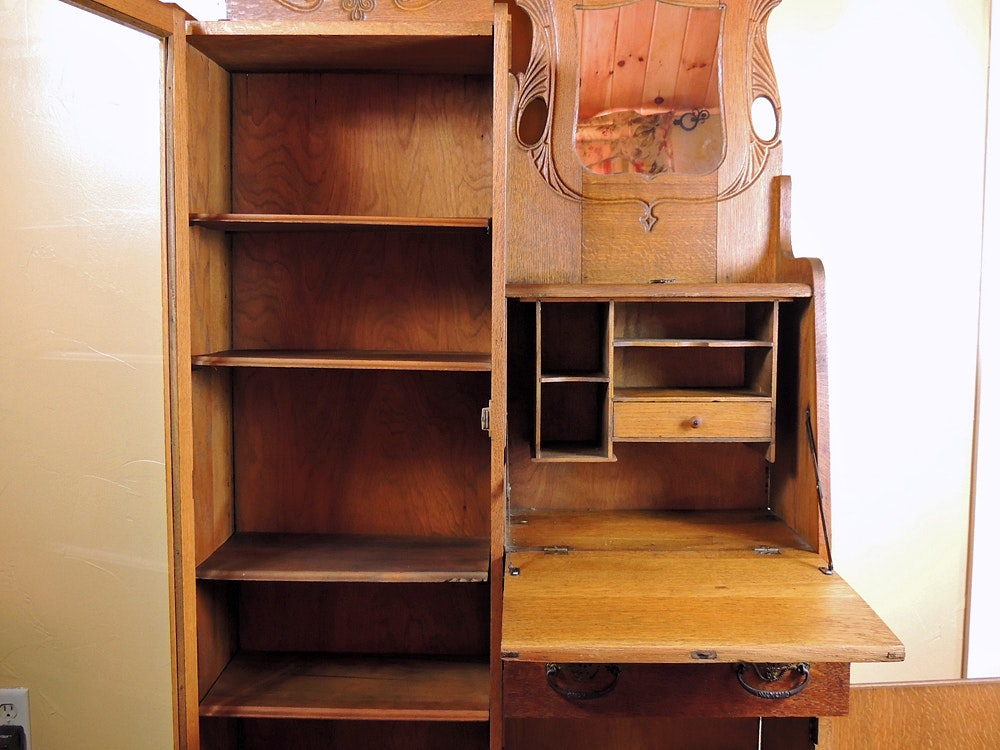 Antique Oak Side By Side Secretary With Bookcase Ebth