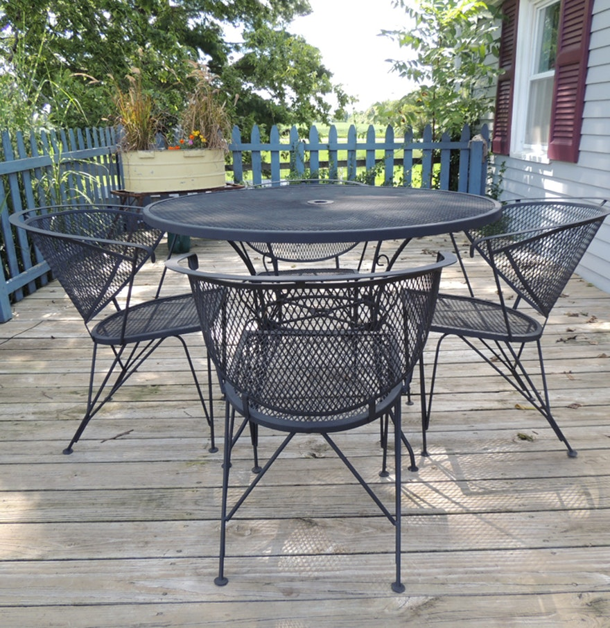Wrought iron mesh patio table and four chairs ebth for Small patio table and 4 chairs