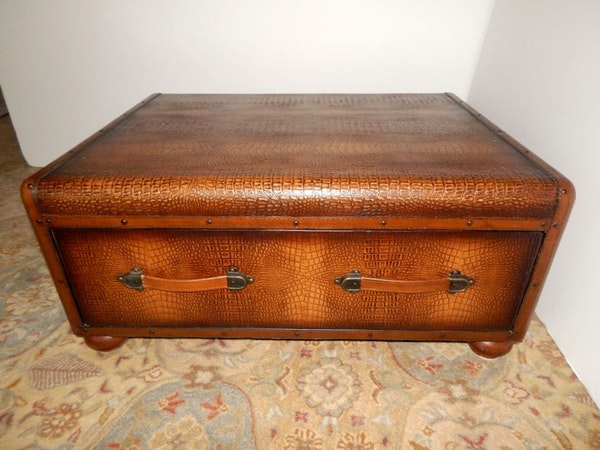 Leather Trunk Style Coffee Table Ebth