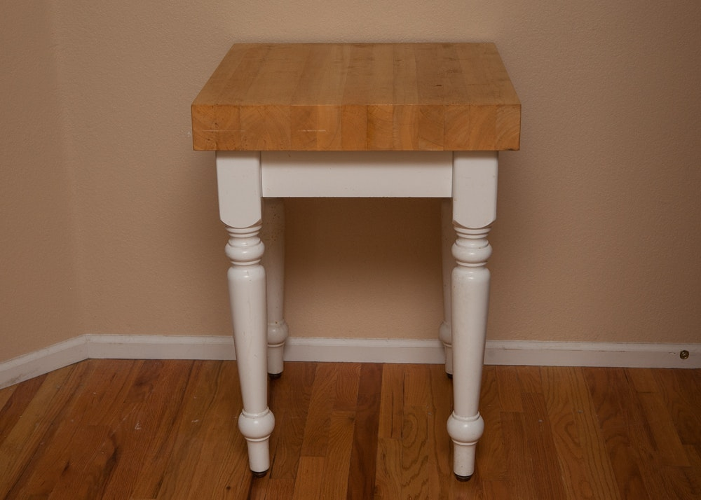 hardwood butcher block table ebth