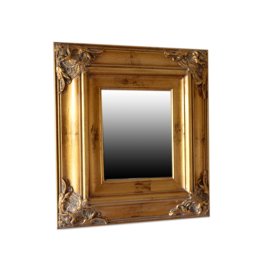 Small traditional gold tone mirror ebth for Small gold mirror