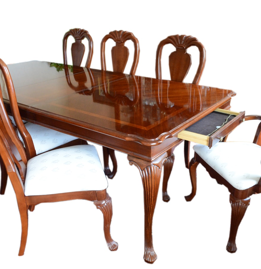 Cherry American Drew Queen Anne Dining Table and Chairs : EBTH