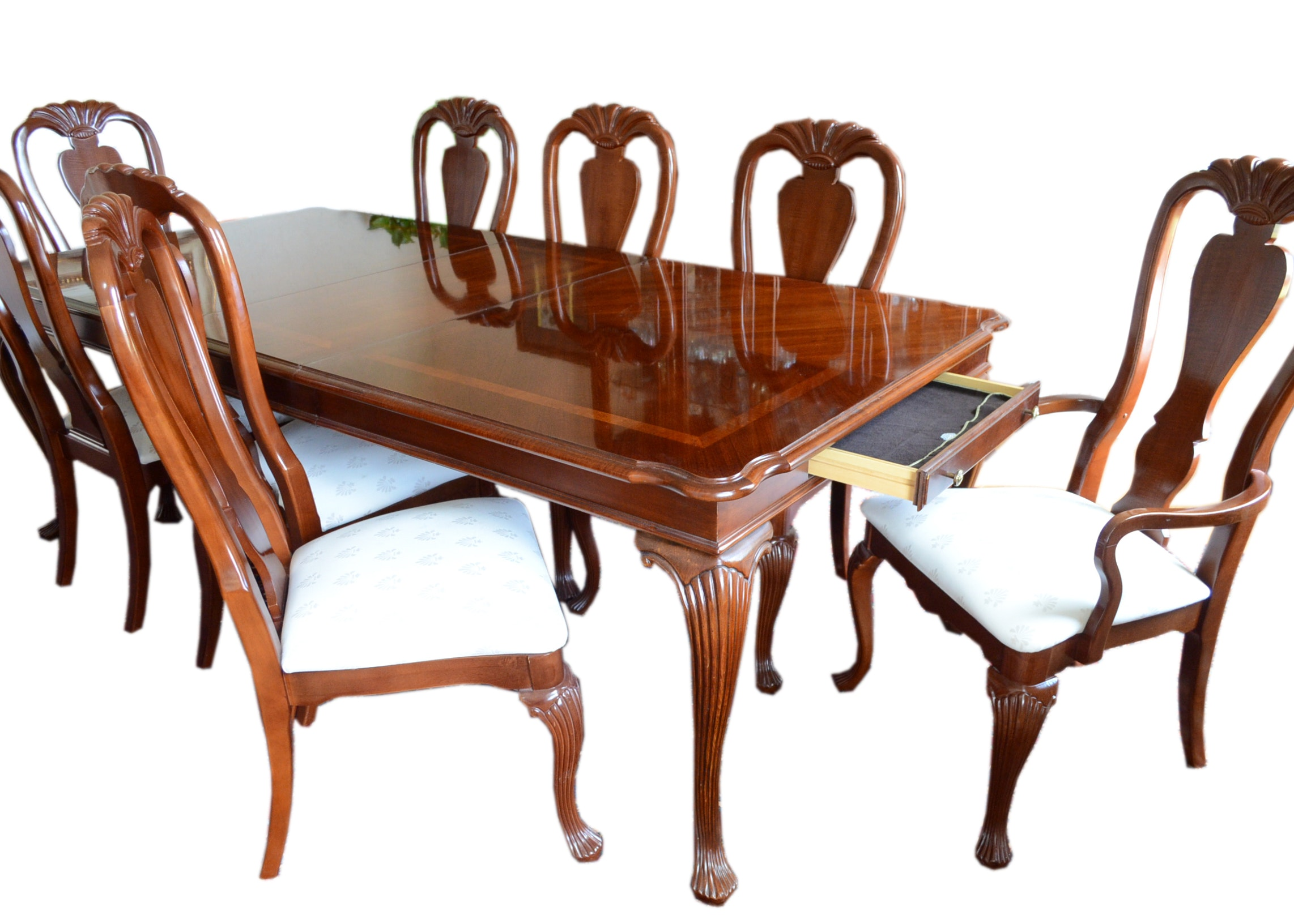 Cherry American Drew Queen Anne Dining Table And Chairs ...
