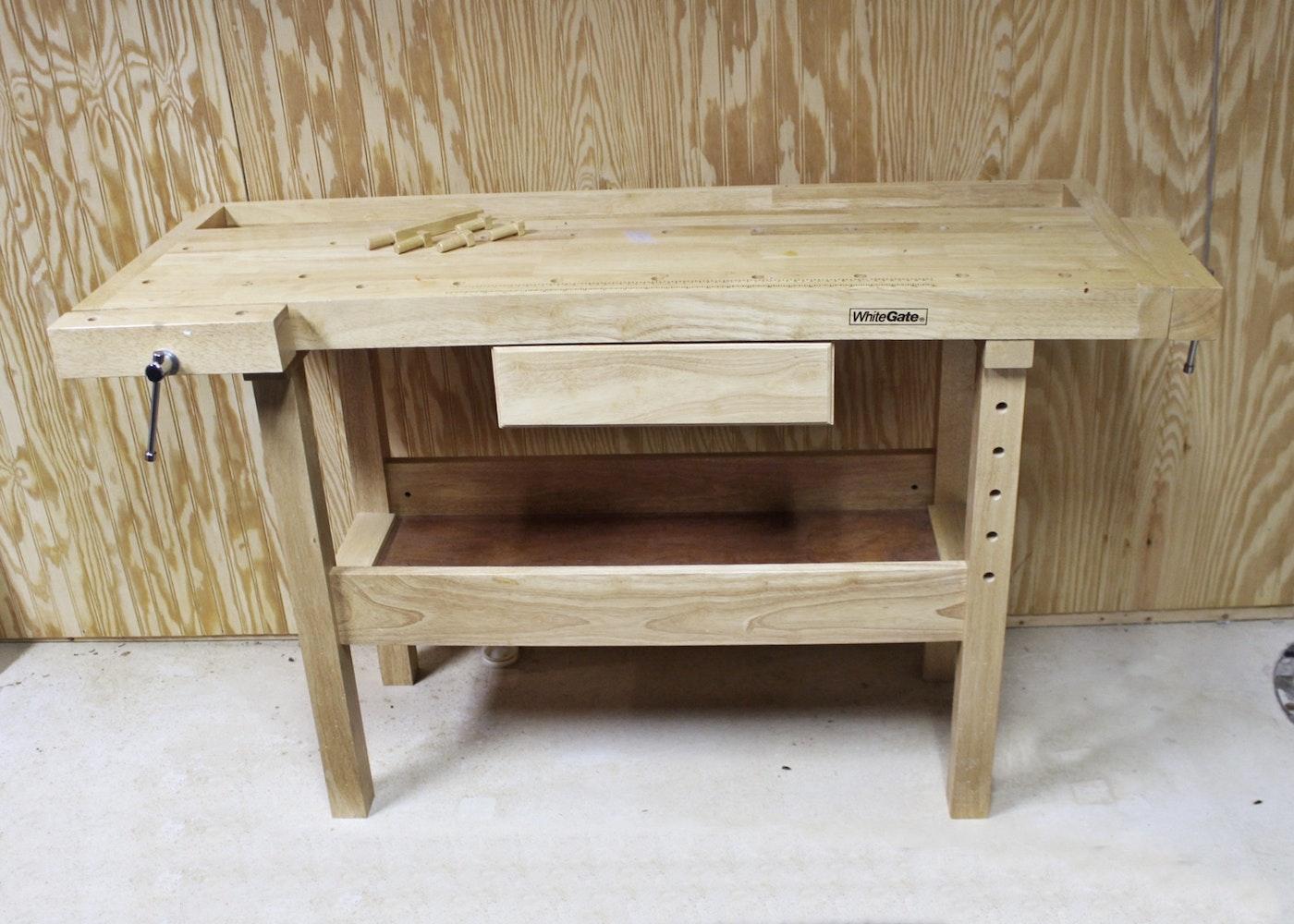 White Gate Oak Work Bench W Two Vises Ebth