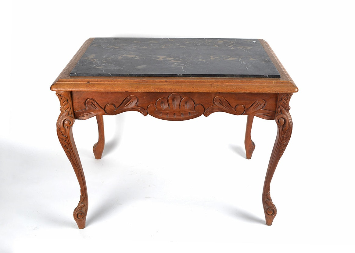 Ornate Side Table With Black Marble Top ...