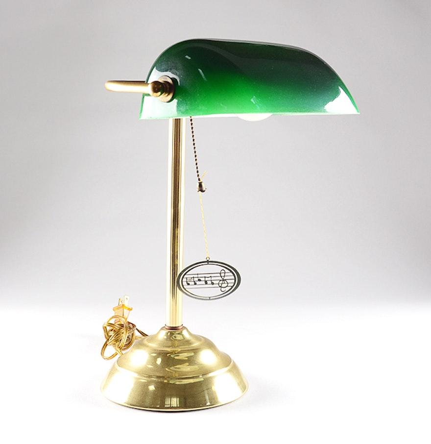 green glass shade banker 39 s lamp ebth. Black Bedroom Furniture Sets. Home Design Ideas