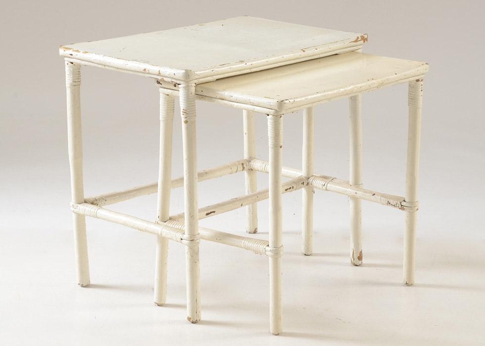Vintage White Wicker Nesting Tables ...