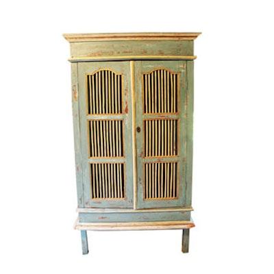 Distressed Robin's Egg Blue Wooden Hutch - Online Furniture Auctions Vintage Furniture Auction Antique