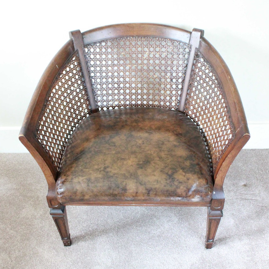 Vintage Cane Back Barrel Chair ... - Vintage Cane Back Barrel Chair : EBTH